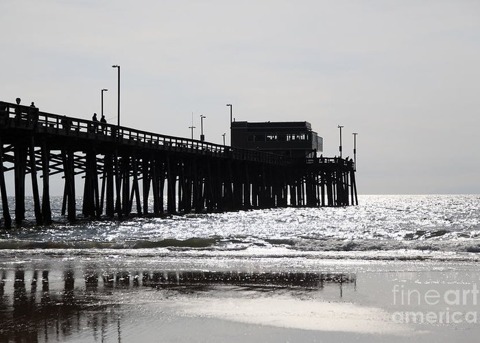 Balboa Peninsula Greeting Card featuring the photograph Newport Pier by Paul Velgos