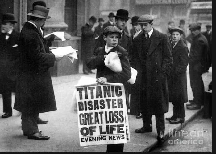 Newsboy Ned Parfett Announcing The Sinking Of The 'titanic' Outside The Offices Of The White Star Line Greeting Card featuring the photograph Newsboy Ned Parfett Announcing The Sinking Of The Titanic by English School