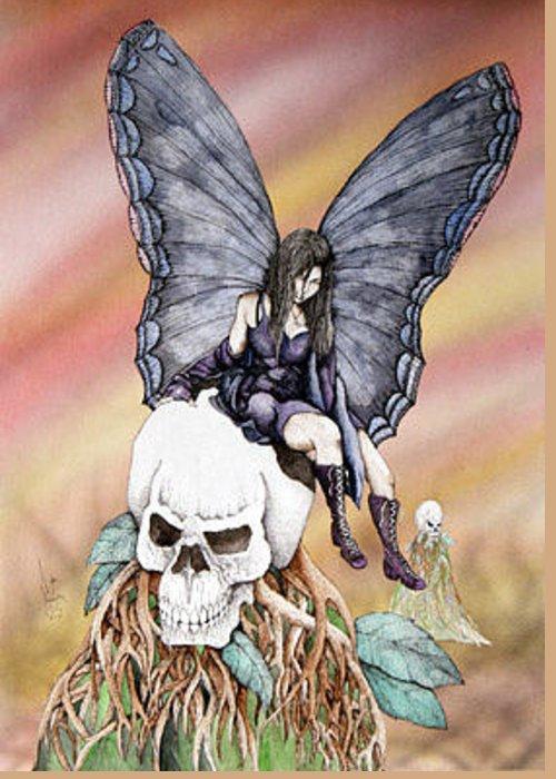 Dark Fairy Dark Faery Dark Fae Doomed Faery Greeting Card featuring the painting Nexus The Dark Fairy by Preston Shupp