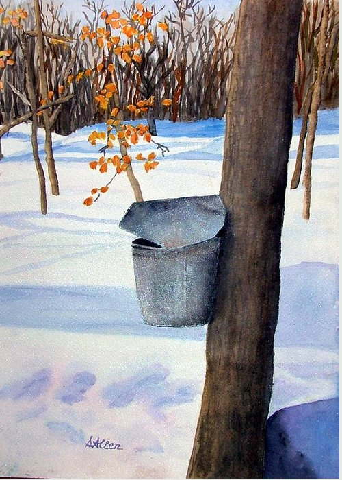 Sap Bucket. Maple Sugaring Greeting Card featuring the painting NH Goldmine by Sharon E Allen