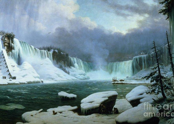 Niagara Falls (oil On Canvas) By Hippolyte Victor Valentin Sebron (1801-79) Greeting Card featuring the painting Niagara Falls by Hippolyte Victor Valentin Sebron