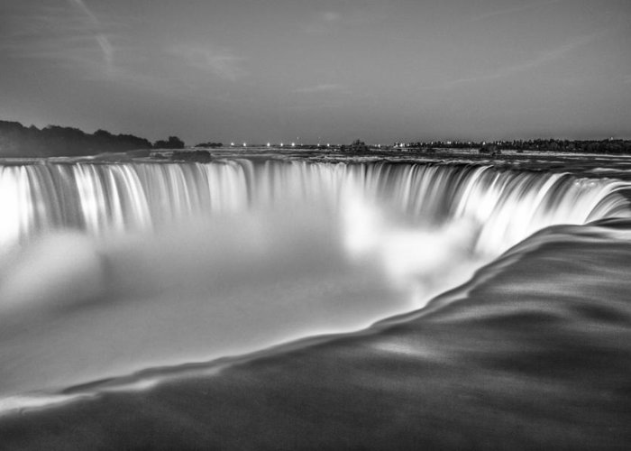 Niagara Falls Greeting Card featuring the photograph Niagara Falls In Black And White by John McGraw