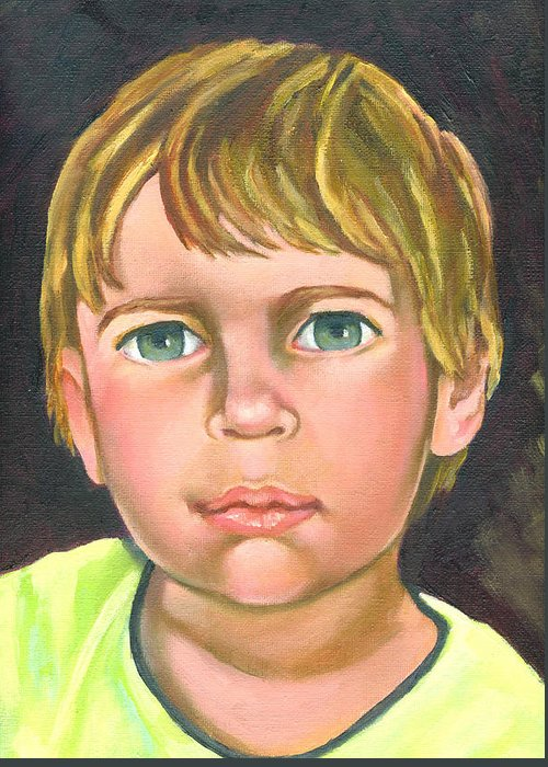 Portraits Greeting Card featuring the painting Nicholas by Aileen McLeod