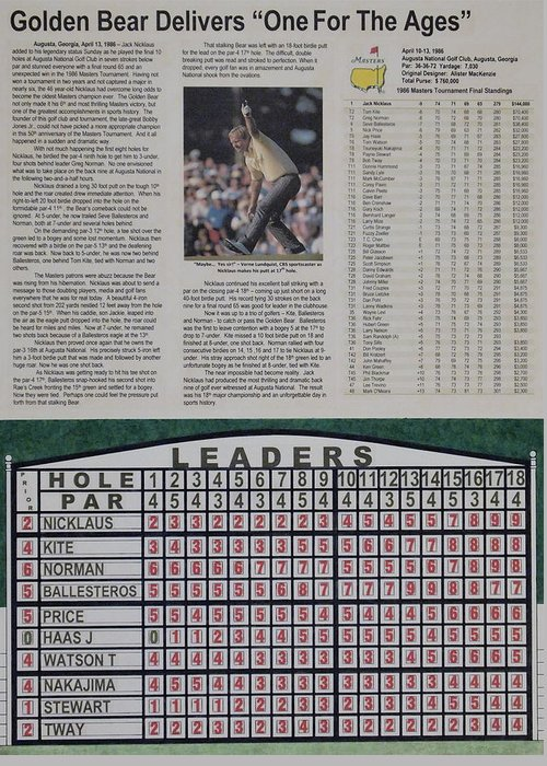 The Masters Greeting Card featuring the drawing Nicklaus 1986 Masters Victory by Marc Yench