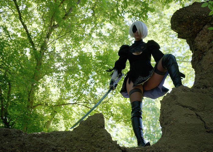 2b Greeting Card featuring the photograph Nier Automata 2b by Emma Layne