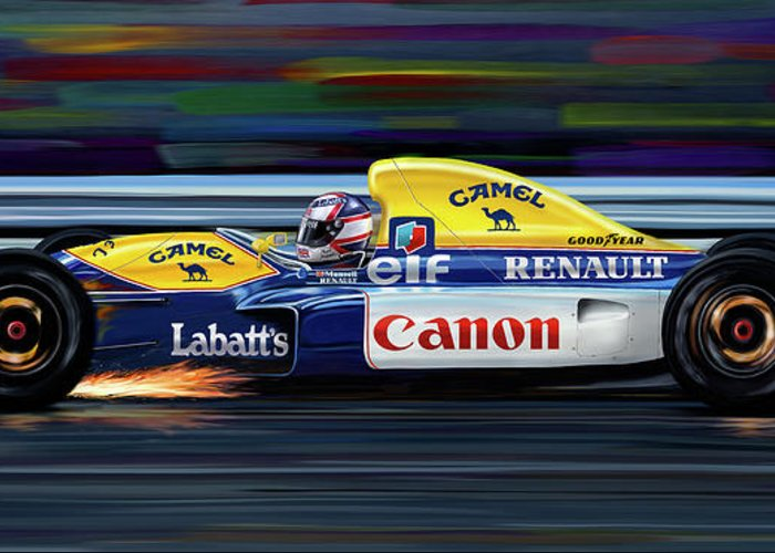 Automotive Greeting Card featuring the digital art Nigel Mansell Williams Fw14b by David Kyte