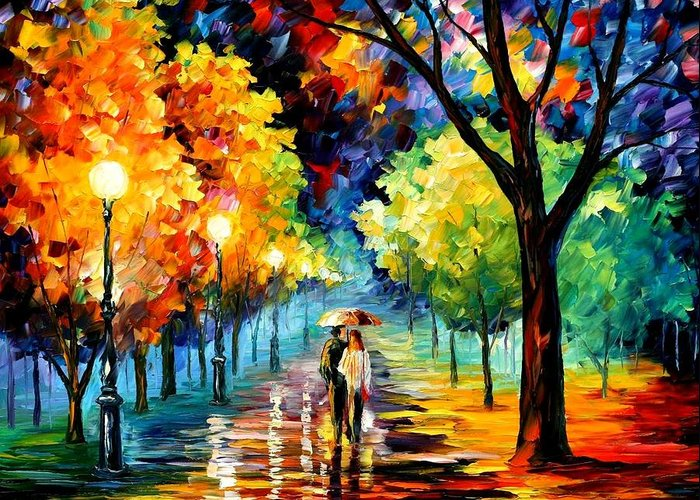 Afremov Greeting Card featuring the painting Night Alley by Leonid Afremov