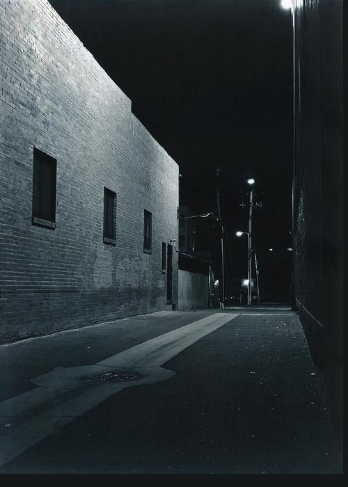Night Greeting Card featuring the photograph Night Alley To Main Street by Jim Furrer