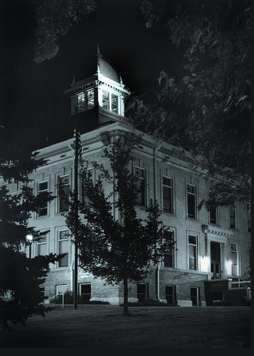 Court House Greeting Card featuring the photograph Night At The Court House by Jim Furrer