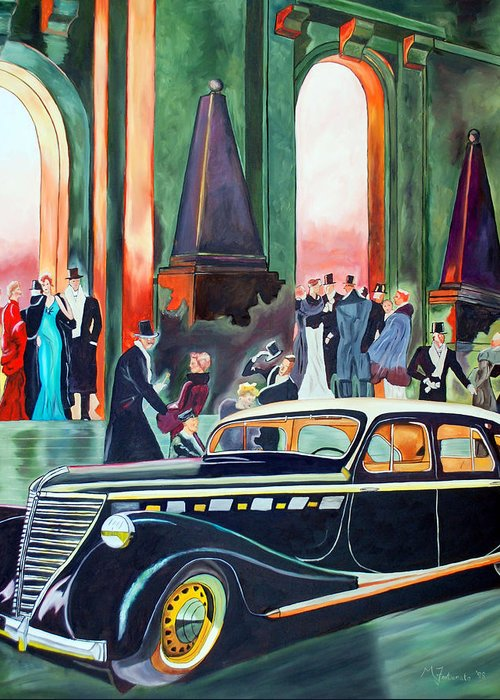 Car Greeting Card featuring the painting Night At The Theater by Margaret Fortunato
