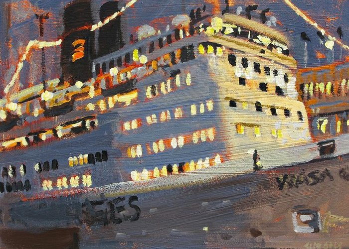Paintings Greeting Card featuring the painting Night Cruise by Brian Simons