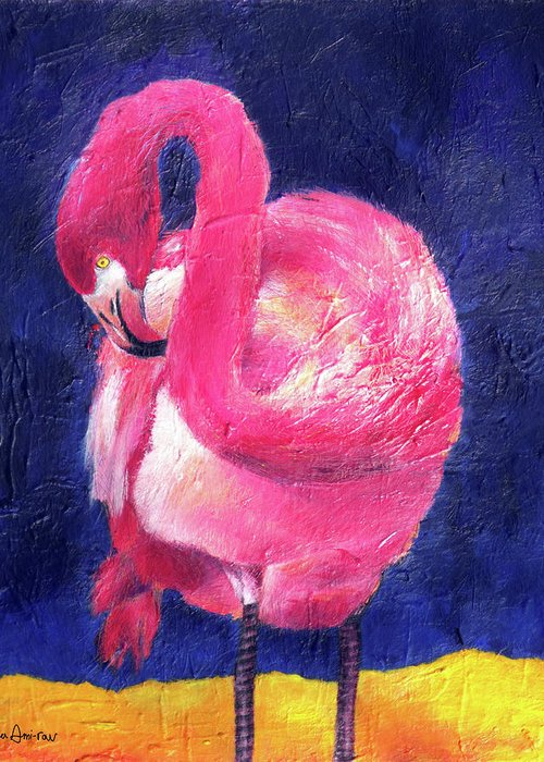Pink Flamingo Greeting Card featuring the painting Night Flamingo by Noga Ami-rav