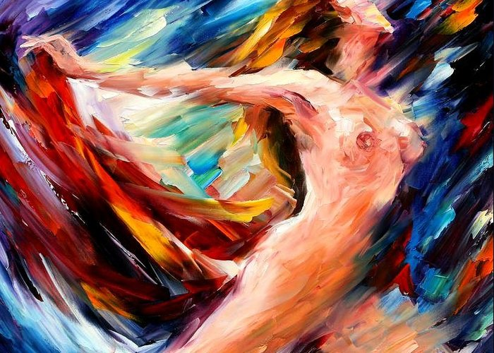 Nude Greeting Card featuring the painting Night Flight by Leonid Afremov