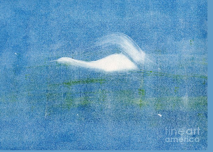 A Crane Flying At Night-original Monotype Print Greeting Card featuring the painting Night Flight by Mui-Joo Wee