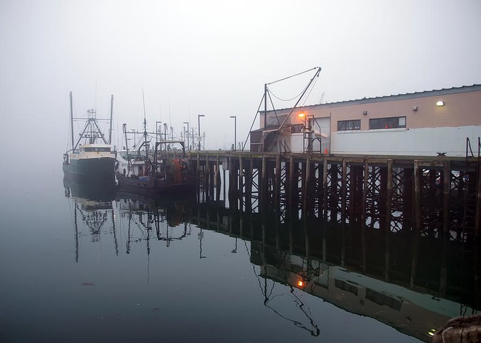 Seascape Greeting Card featuring the photograph Night Fog Along The Dock by Bob Orsillo