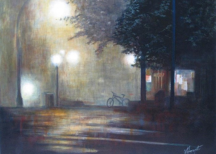 Fog Greeting Card featuring the painting Night Fog by Victoria Heryet