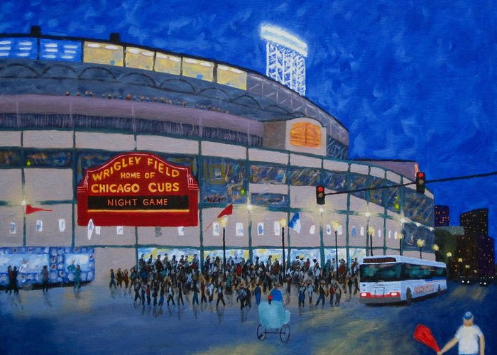 Wrigley Field At Night Greeting Cards