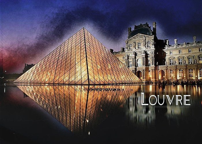 Paris Greeting Card featuring the painting Night Glow Of The Louvre Museum In Paris Text Louvre by Elaine Plesser