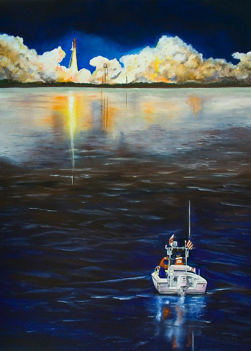 Coast Guard Greeting Card featuring the painting Night Launch by Dorothy Riley