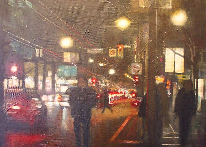 City Greeting Card featuring the painting Night Life 2 by Victoria Heryet