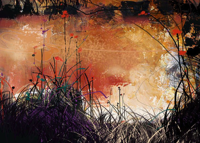 Landscape Greeting Card featuring the digital art Night Mirrors by Dale Witherow