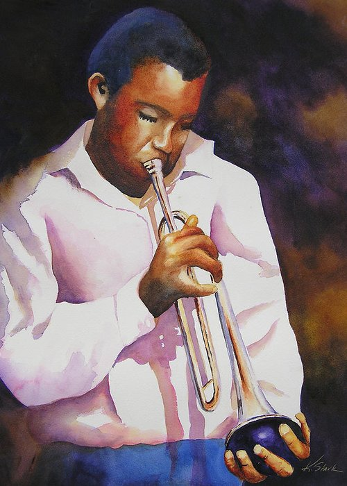 Trumpet Greeting Card featuring the painting Night Music by Karen Stark