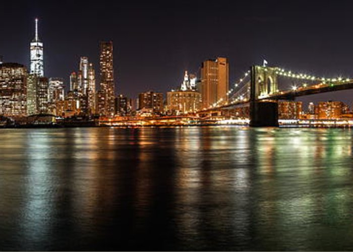 Nyc Greeting Card featuring the photograph Night Nyc Panorama by Dmitriy Laria