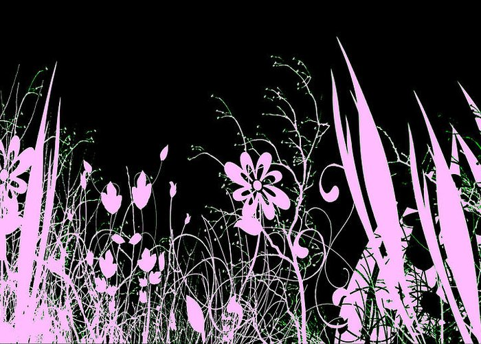 Digital Art Greeting Card featuring the digital art Night Of The Flowers by Evelyn Patrick