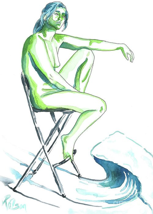 Artistic Nude; Female Nude Greeting Card featuring the painting Wave by D Renee Wilson