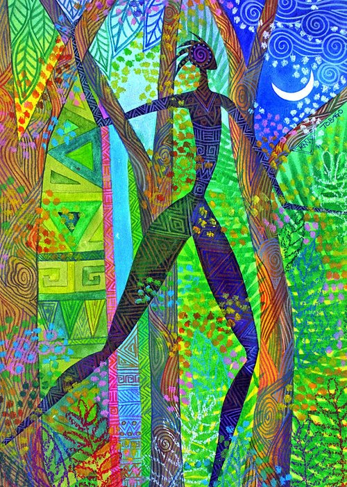Jungle Tropical Night African Figure Mysterious Greeting Card featuring the painting Night Quest by Jennifer Baird