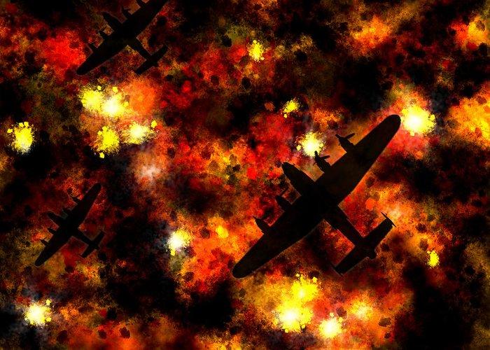 Avro Lancaster Bomber Greeting Card featuring the digital art Night Raid - Lancaster Bomber by Michael Tompsett