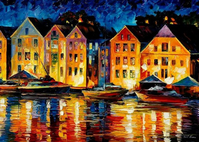 City Greeting Card featuring the painting Night Resting Original Oil Painting by Leonid Afremov