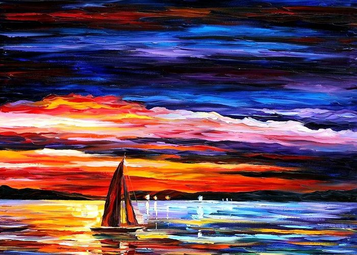 Seascape Greeting Card featuring the painting Night Sea by Leonid Afremov