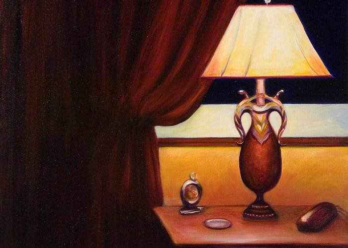 Still Life Red Greeting Card featuring the painting Night by Shannon Grissom