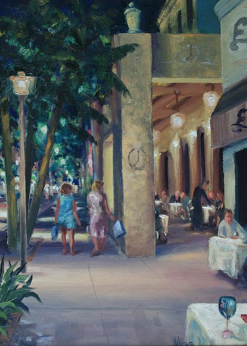 Cityscape Greeting Card featuring the painting Night Shoppers by Michael Vires