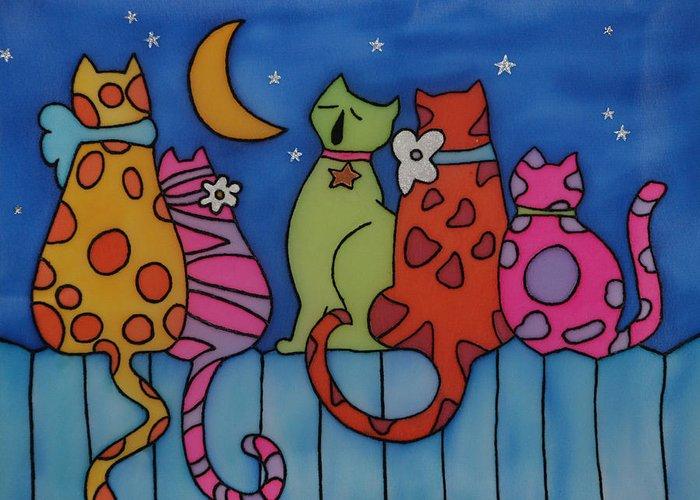 Cats Greeting Card featuring the painting Night Singers  by Tatiana Antsiferova