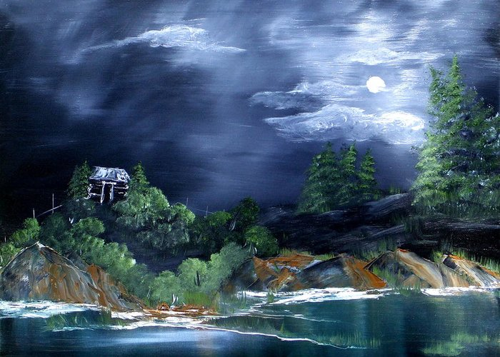 Landscapes Greeting Card featuring the painting Night Sky by Rebecca Fitchett