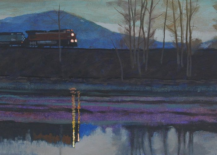 Train Greeting Card featuring the painting Night Train by Robert Bissett