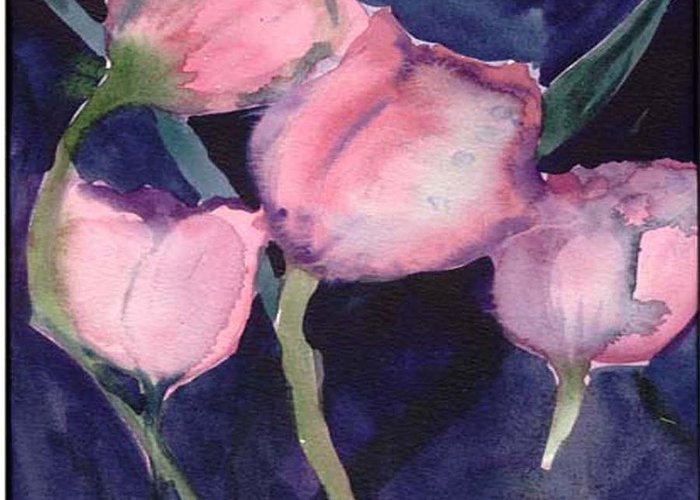 Tulips Greeting Card featuring the painting Night Tulips by Janet Doggett