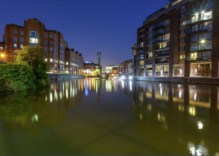 Architecture Greeting Card featuring the photograph Night View Across River Avon To Temple Bridge Bristol England by Jacek Wojnarowski