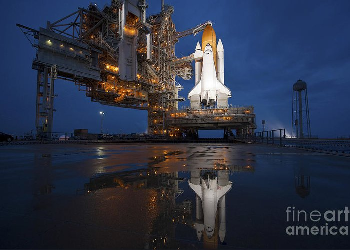 Atlantis Greeting Card featuring the photograph Night View Of Space Shuttle Atlantis by Stocktrek Images
