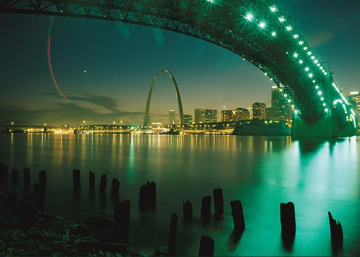 North America Greeting Card featuring the photograph Night View Of St. Louis, Mo by Michael S. Lewis