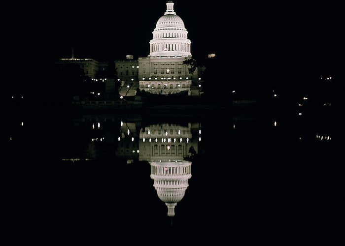 Night View Of The Capitol Greeting Card featuring the photograph Night View Of The Capitol by American School