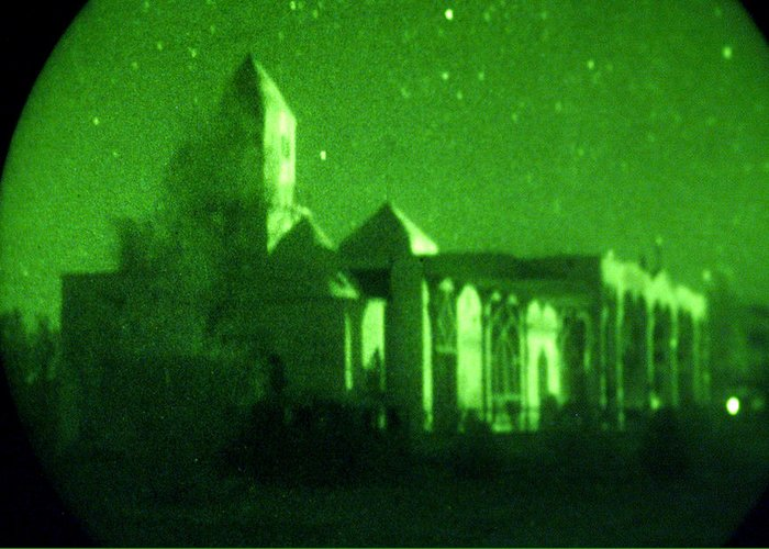 Mosque Greeting Card featuring the photograph Night Vision Mosque Kandahar by Thomas Michael Corcoran