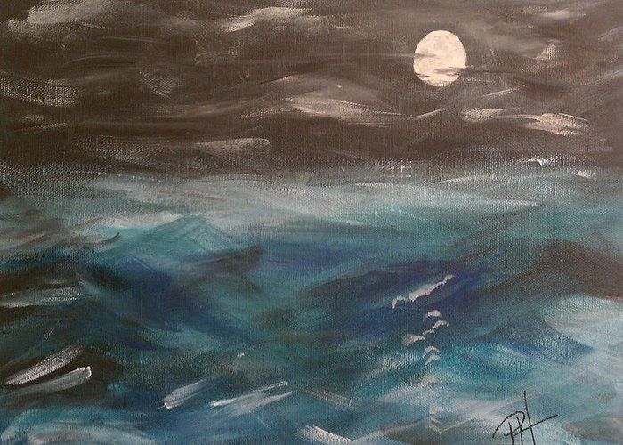 Ocean Greeting Card featuring the painting Night Waves by Patti Spires Hamilton
