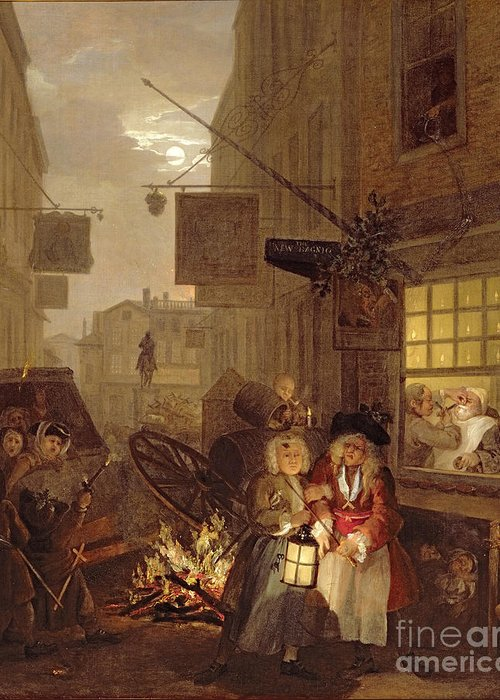 The Greeting Card featuring the painting Night by William Hogarth