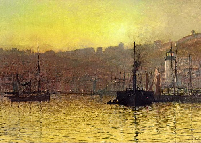 Grimshaw Greeting Card featuring the painting Nightfall In Scarborough Harbour by John Atkinson Grimshaw
