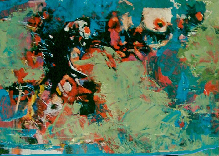 Abstract Greeting Card featuring the painting Nightly  Reflections by Dale Witherow