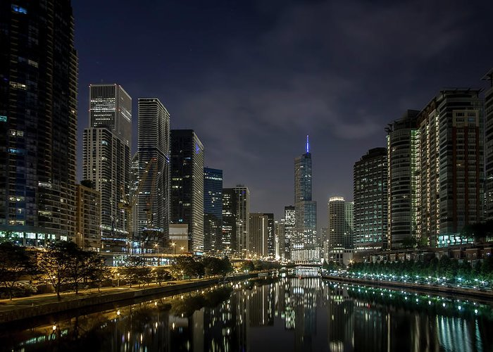 Chicago Greeting Card featuring the photograph Nighttime Chicago River And Skyline View by Sven Brogren