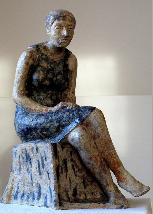 Sculpture Greeting Card featuring the sculpture Nijole by Raimonda Jatkeviciute-Kasparaviciene